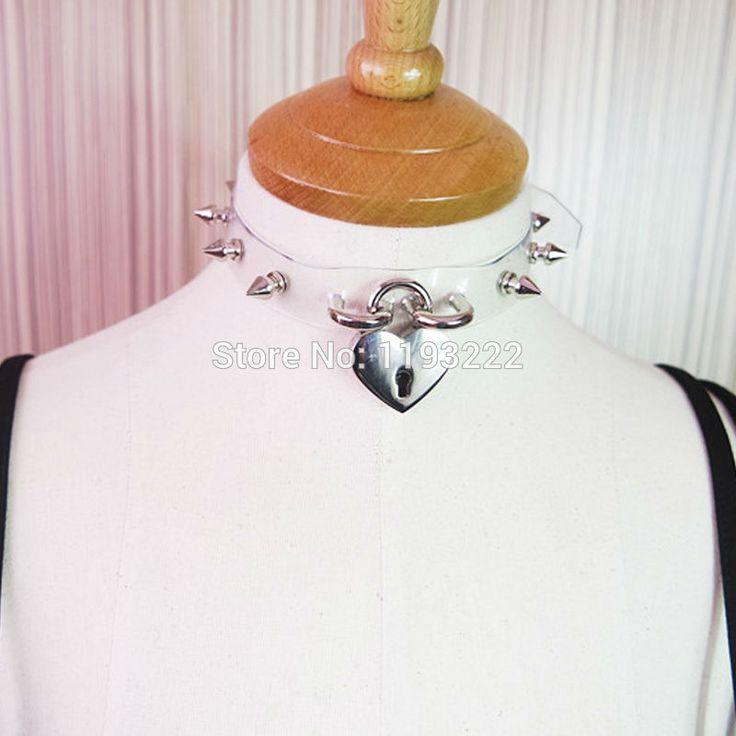Ручной работы сейф в форме сердца колье замок ключ с замком ясно пвх шипы шипами воротник регулируемый колье ожерелье