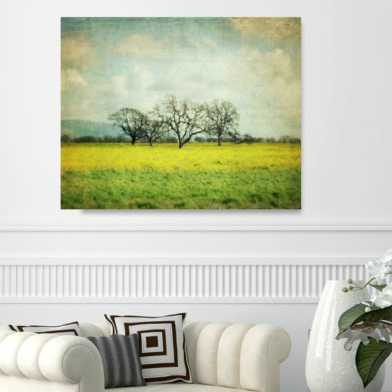 """Large Wall Art, Landscape Canvas Art, Yellow Green Canvas Art, Oversized Art, Trees in Meadow, Landscape Photography, Large Print  """"Sunglow"""""""