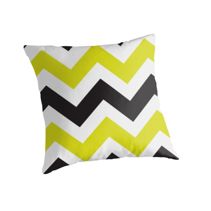"""Zig Zag Zog"" Throw Pillow http://www.redbubble.com/people/angeflange/works/9691417-zig-zag-ipad-chartreuse-and-black?p=throw-pillow"