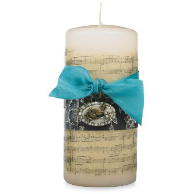 Music Stamped Tissue #Candle, gift idea, easy makexand take craft DIY