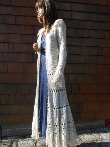 Free People Boho Free Spirit Incredible Gyspy long crochet sweater coat duster