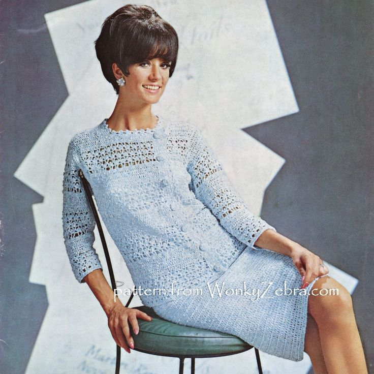 A fab crochet suit pattern for a posh event or wedding; maybe even for the bride! Done with alternating bands of crochet lace and plain trebles in a boucle textured yarn. the elegant jacket is asymmetrical, plain straight skirt. Pattern WZ273 PDF from wonkyZebra