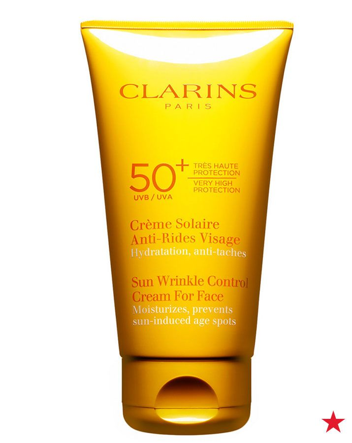 Get a step ahead of the sun & protect yourself with Clarins sunscreen for your face. This lightweight cream also moisturizes skin and helps prevent sun-induced skin aging.