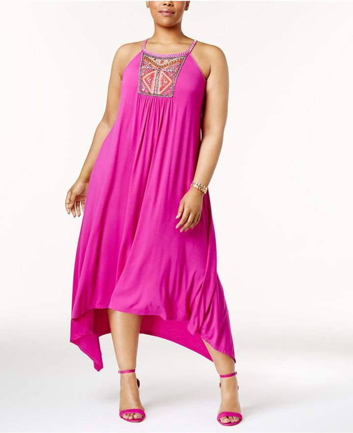 ON SALE @ Macy's - INC International Concepts Plus Size Embroidered Handkerchief-Hem Dress, Only at Macy's. SPRING & SUMMER FASHION TRENDS 2017