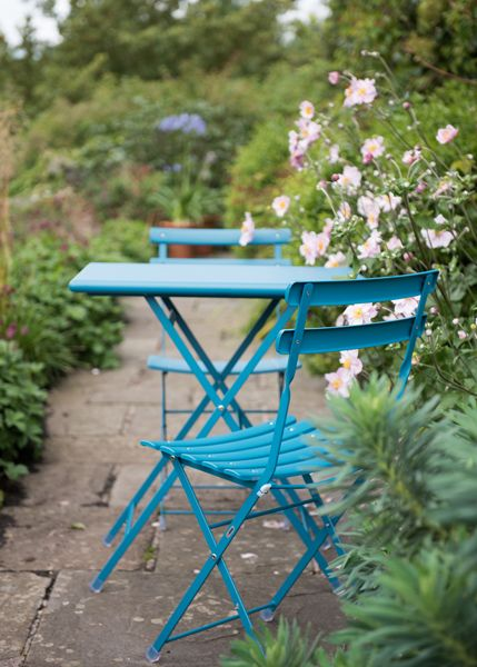 Buy Rome folding bistro set - teal: Delivery by Waitrose Garden in association with Crocus
