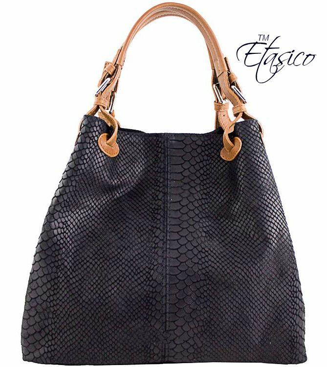 Etasico Italian Leather Handbag Iris Python Print Black Bags $185 on SALE $129 #EtasicoIris