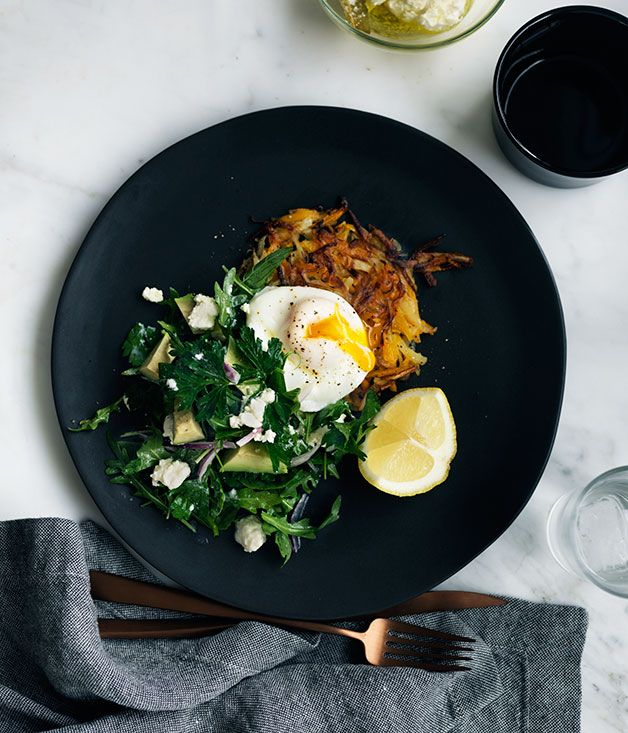 Recipe for pumpkin rösti with poached egg, and mint, feta and avocado salad.