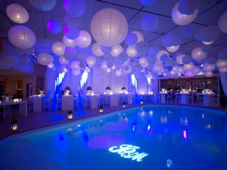 Paper lanterns on the sealing special lighting in the pool area!