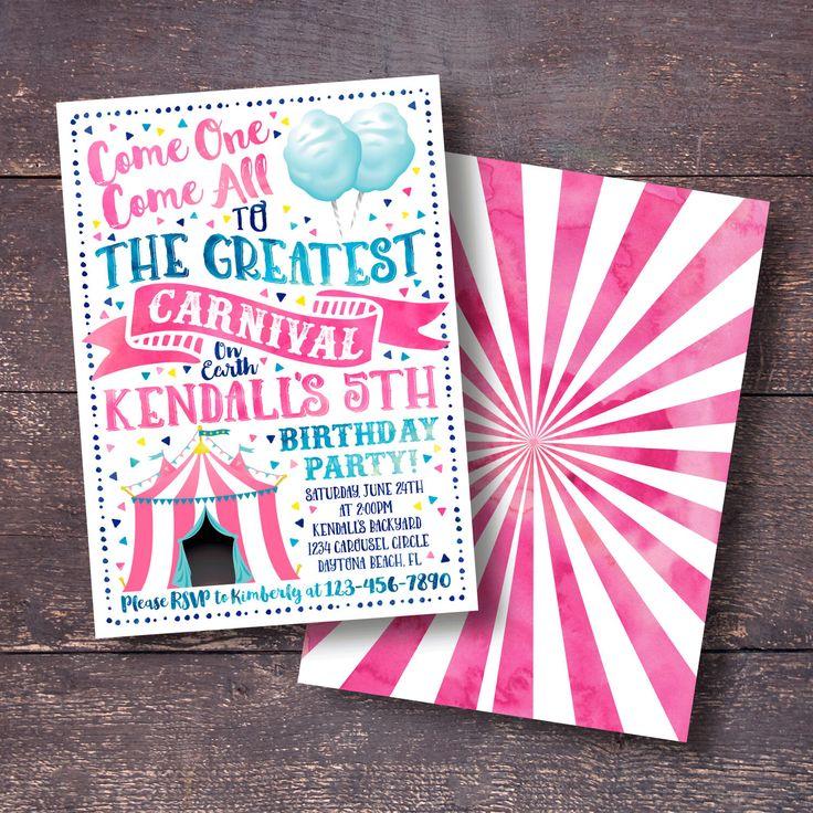 birthday free invitation maker%0A Pink Carnival Invitation  Carnival Invitation  Carnival Birthday Invitation   Circus Invitation  Circus Birthday