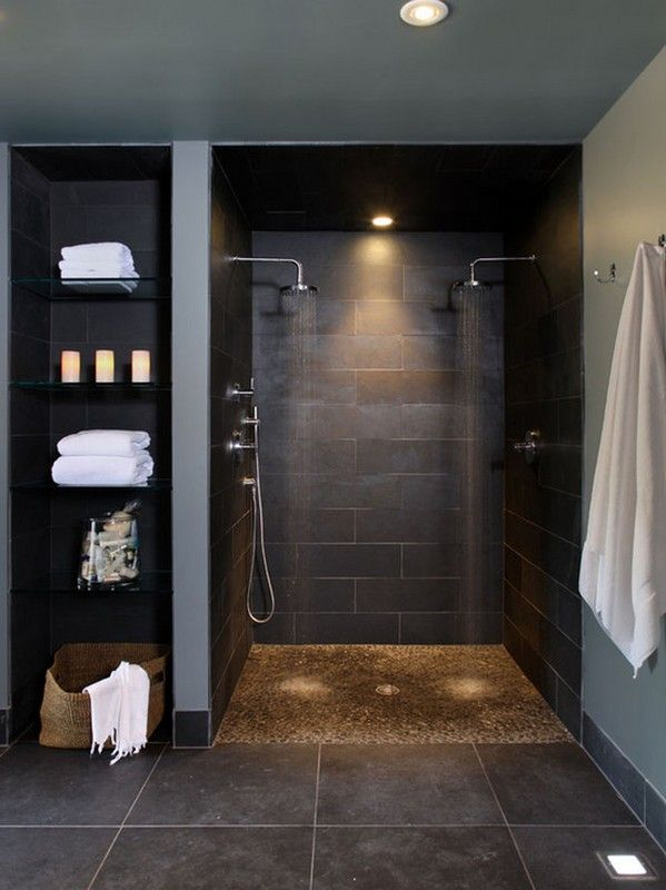 Interior. bathroom walk in shower designs decoration using black stone tile bathroom walls including round recessed light in bathroom and dark brown pebble bathroom flooring. Fetching Bathroom Decoration with Bathroom Walk in Shower Design