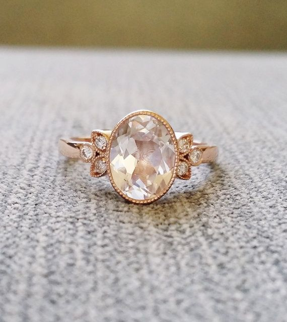 This Stunning Exclusive PenelliBelle Design Features an Art Deco Style 14K Rose Gold Setting. Low Profile Set with a 2.3 carat White Sapphire and