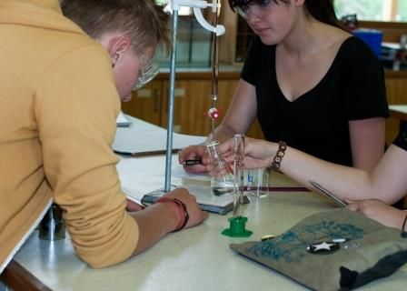 Students conducting a science experiment at Orana Steiner School in Canberra, Australia