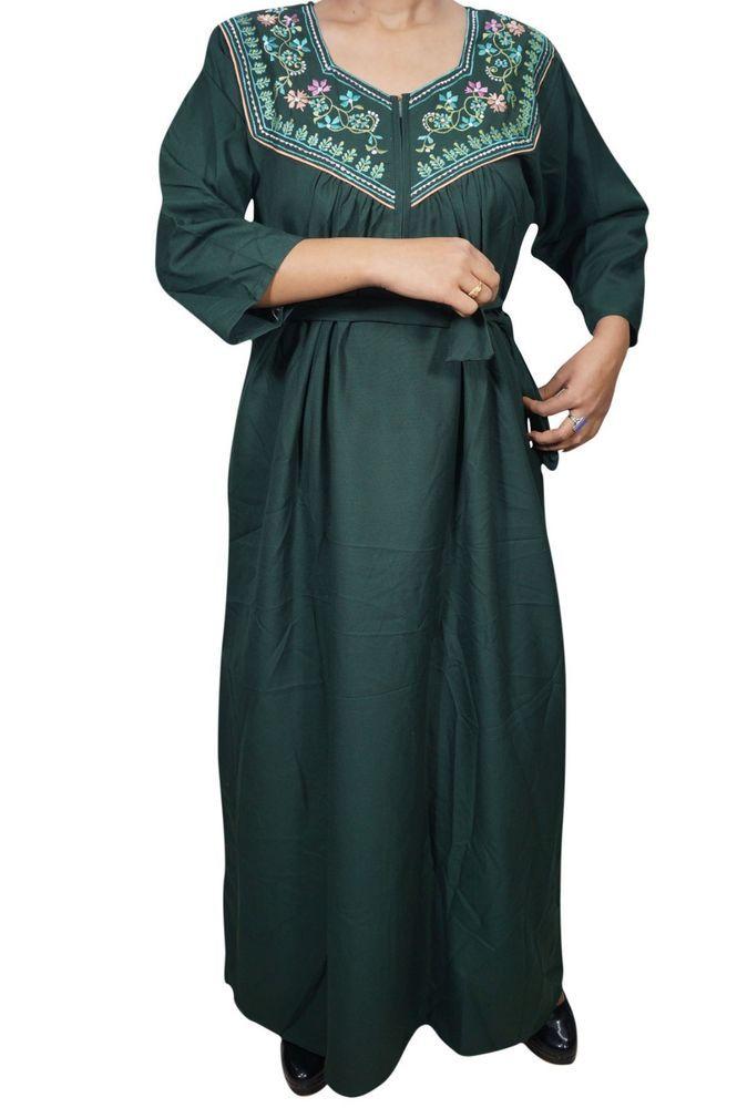 """Indiatrendzs Women Nightwear Cotton Neck Embroidered Green Long Nightgown 44"""" #Indiatrendzs #nighty #women #long #cotton #nightwear #sleepwear"""