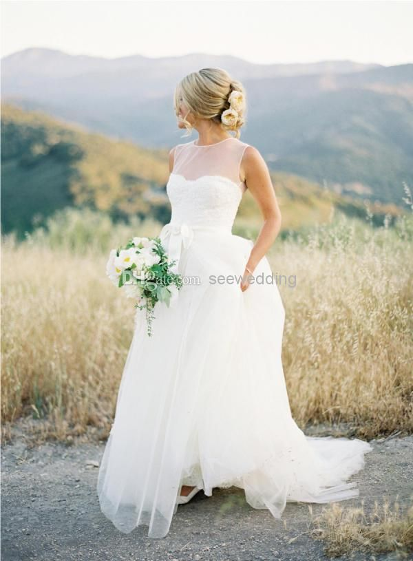 Wholesale A-Line Wedding Dresses - Buy Cheap 2014 Vintage Wedding Dresses A Line Sheer High Neck Lace Appliques Bodice Tulle Garden Wedding ...