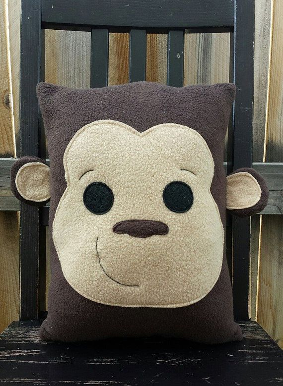 Monkey Monkey Pillow Plush cushion gift by telahmarie on Etsy
