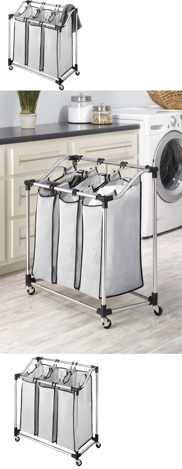 White tilt out clothes storage basket bin bathroom drawer ebay - Hampers 43517 3 Bag Laundry Sorter Cart Rolling Triple Clothes Hamper Bin Storage Basket Rack