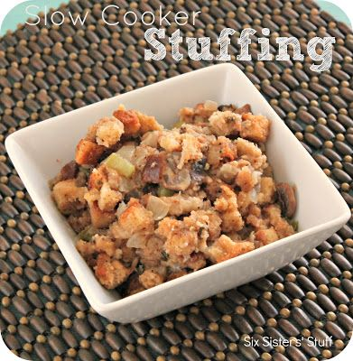 Slow Cooker Stuffing- this will make your Thanksgiving dinner prep just a little bit easier! SixSistersStuff.com #Thanksgiving #recipe #crockpot