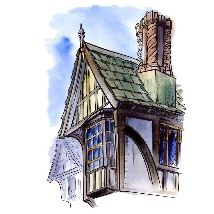 Посмотреть иллюстрацию Токарев Антон - Дом в Тюдоровском стиле. Рисунок…