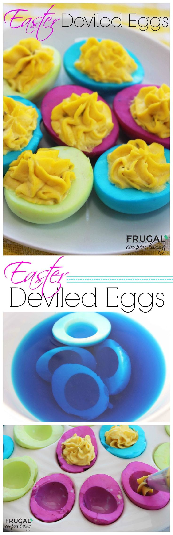 Easter Deviled Eggs - Tutorial on how to color the egg whites of your hard boiled eggs. Kids Food Craft. Easter Eggs Recipe. Egg Recipe.