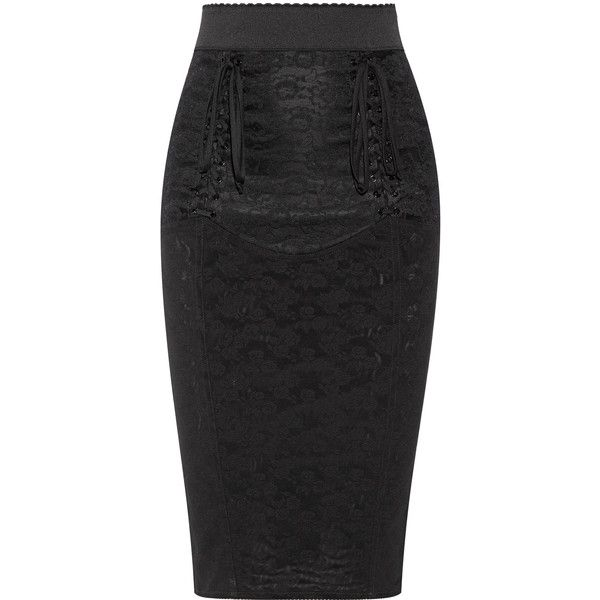 Dolce & Gabbana Lace-up mesh-jacquard pencil skirt ($1,195) ❤ liked on Polyvore featuring skirts, black, floral skirts, sheer mesh skirt, see-through skirts, elastic waist skirt and floral knee length skirt