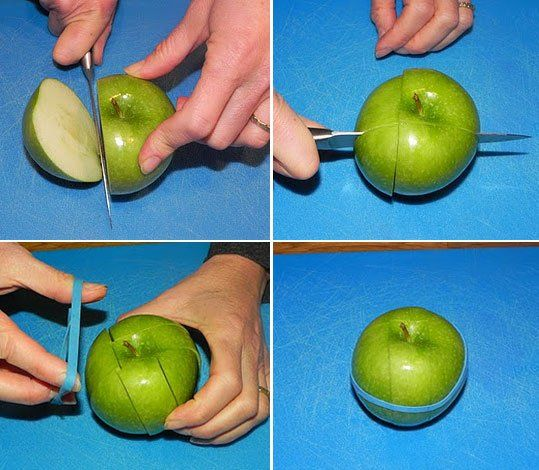 As a mom, I luv this idea!!! So Simple!!!  The Rubber Band Trick: How to Keep a Cut Apple Fresh in Your Lunchbox