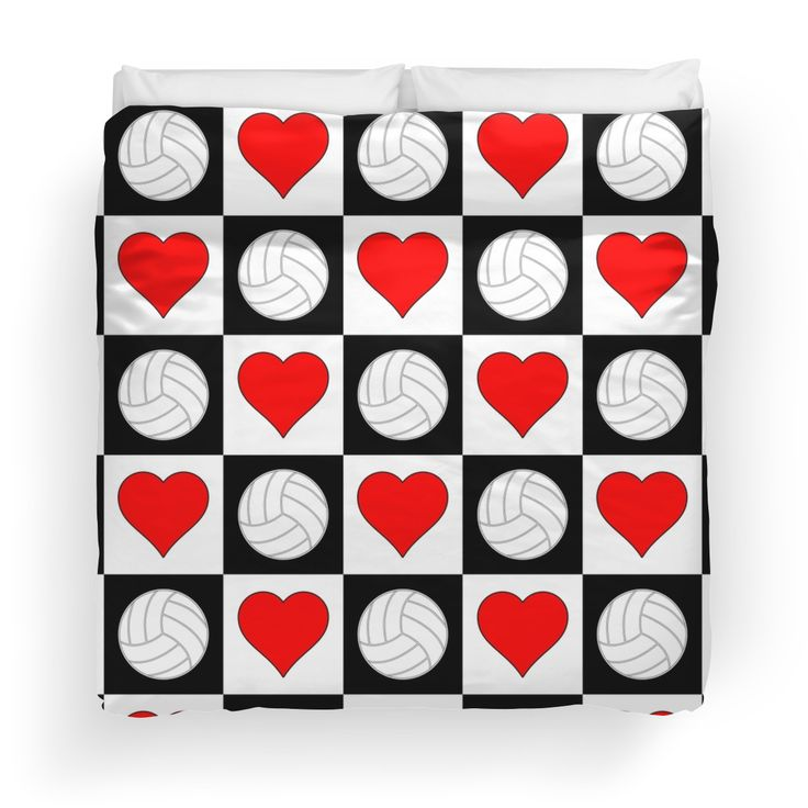 volleyball heart checkered pattern duvet cover volleyball bedroomsoftballbedroom decorbedroom. beautiful ideas. Home Design Ideas