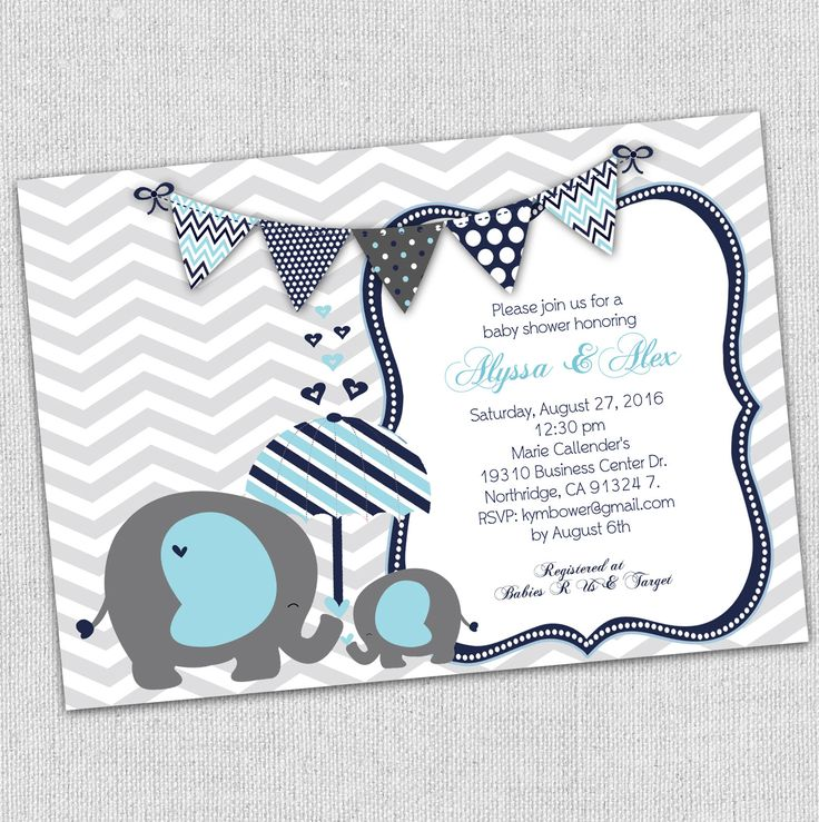 baby elephant baby shower invitation, blue and gray baby shower