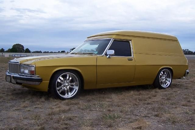 ◆ Visit MACHINE Shop Café... ◆ ~ Aussie Custom Cars & Bikes ~ (Gold 1975 HZ Holden Panel Van with WB Statesman Front End)