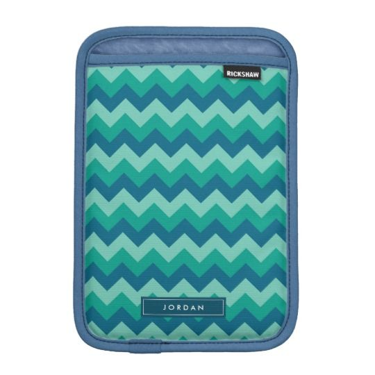 Trendy Preppy Teal Blue Chevron Monogram Sleeve For iPad Mini by Rosewood and Citrus on Zazzle