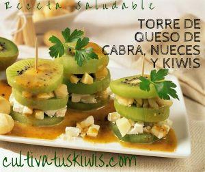 Receta de Torre de Queso de cabra, nueces y kiwis. #nutrición #saludable #recetas #kiwis #frutas