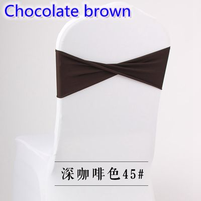 Chocolate brown colour spandex sashes universal lycra bow tie stretch chair sash ribbon belt wholesale wedding decoration