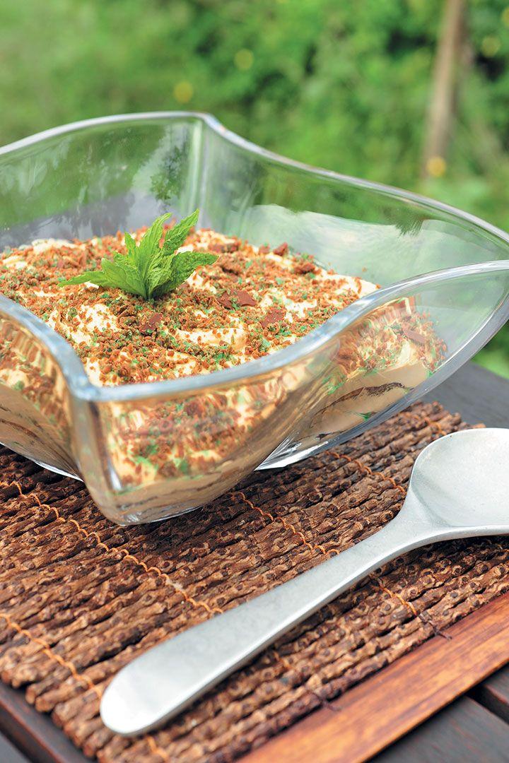 Peppermint Crisp fridge tart