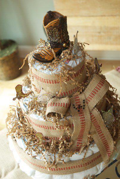 Cowboy Diaper Cake {baby Shower Ideas} Look How Cute This Would Be!  Modified As A Wedding Cake, Maybe?