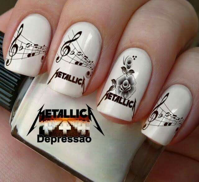 awesome Metallica nail art ♡. - 200 Best Funny Nail Art Designs Images On Pinterest Cute Nails