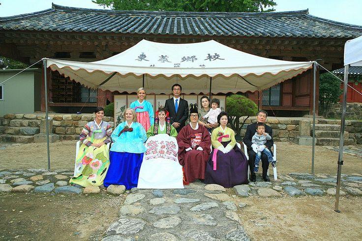 Korean Traditional Wedding: American wife & Korean husband in traditional Korean Hanboks, Korean & American family in Hanboks