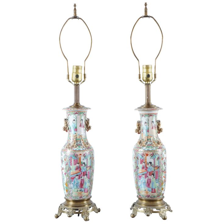 Pair Rose Medallion Chinese Lamps   From a unique collection of antique and modern ceramics at https://www.1stdibs.com/furniture/asian-art-furniture/ceramics/