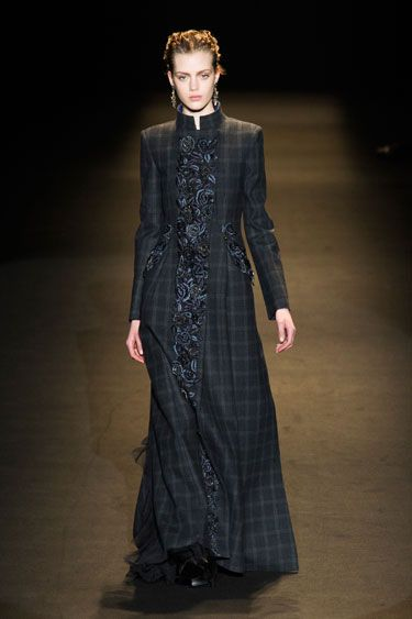 Alberta Ferretti Fall 2013 - Of note was how Ferretti brought the feminine note to men's wear inspired coats & jackets. Sharp plaid toppers got some extra zsuzsh here thanks to floral appliques.