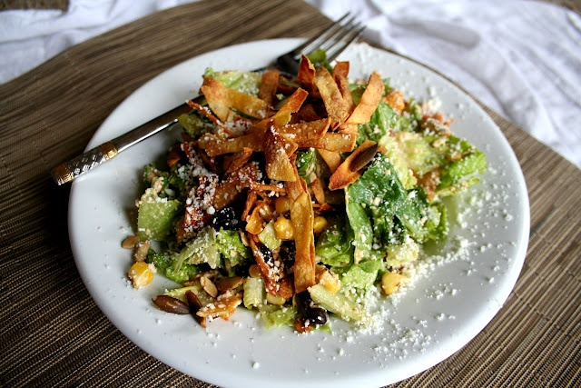 Mexican Caesar Salad with Roasted Corn, Black Beans, Roasted Pumpkin ...