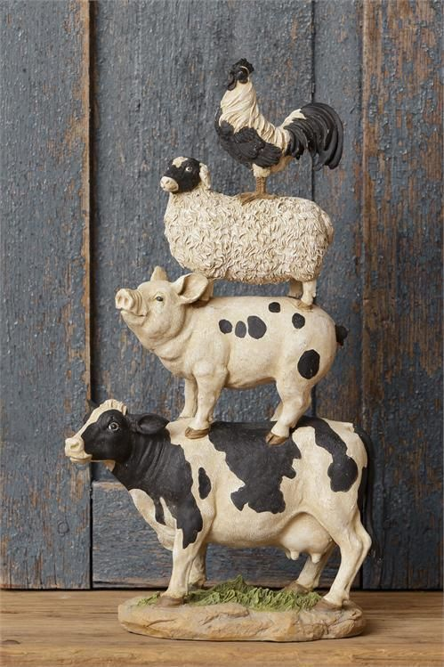 Details About New Primitive Country Farm Animal Cow Pig