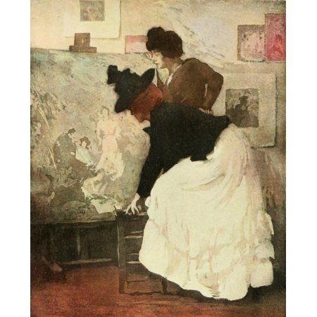 Posterazzi The Studio 1902 Woman examining picture Canvas Art - Manuel Robbe (24 x 36)