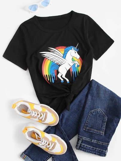 ce09cac654 Rainbow And Horse Print Tee SheIn informs you on the latest fashion trends  and brings you the hottest women's clothing, shoes, handbags and  accessories, ...