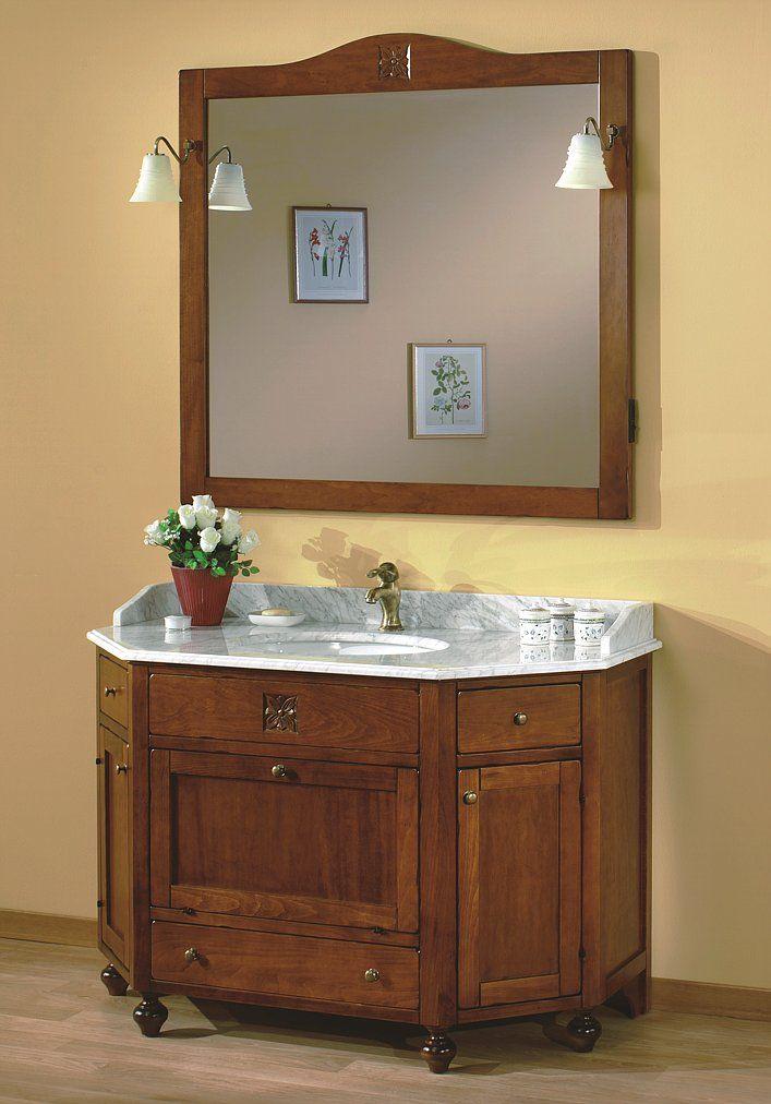 """Maße:   125 x 61 x 205 cm Farbe:   Walnuss  Ein sechseckiges Badmöbel aus der Serie """"Ricordi"""", das traditionelles Design und moderne Formgebung vereint.  Die extravagante 6-eckige Form dieses Badmöbels hebt sich wohltuend von den herkömmlichen Rechteck-Formen klassischer Badmöbel ab und schafft es dabei den traditionellen Stil der Badmöbelserie """"Ricordi"""" zu bewahren."""