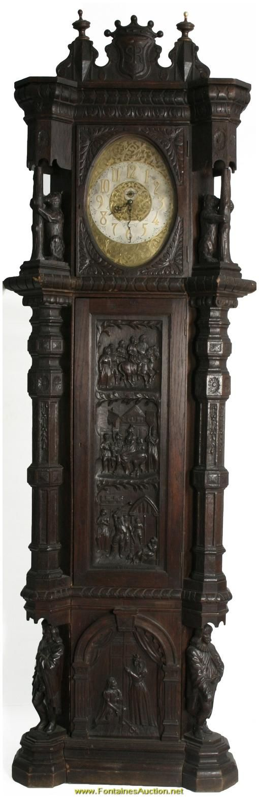 Elite English Oak Grandfather Clock