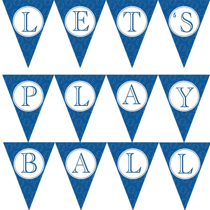 Party Flag Banner - Blue Lets Play Ball Sports Baseball Birthday Printable Party Decoration