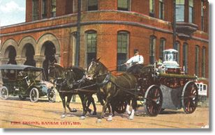 """In the late 1800s and early 1900s, the Kansas City Fire Department was not only the talk of the town, it was the talk of the free world. Having competed in the International Fire Congress competition in England in 1893, they won the Gold Medal for their innovative firefighting abilities under the command of long-time Fire Chief George Hale. The team, along with fire horses """"Dan"""" and """"Joe,"""" also won first place awards in the hitching competition."""