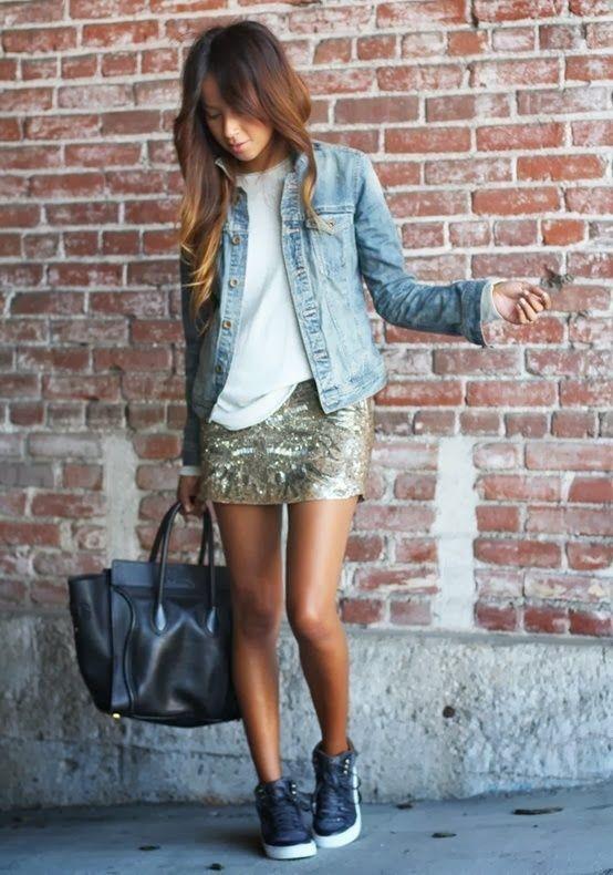 Tee/denim jacket/short metallic skirt/black bag/high tops....I love Fresh Fashion: Fresh Summer Trends 2014