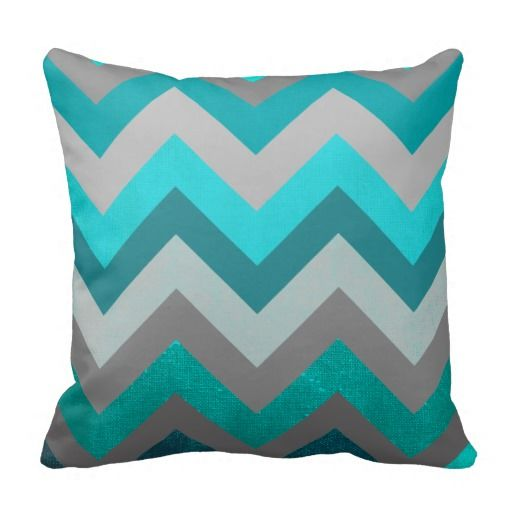Trendy Girly Gray Teal Chevron Zigzag Pattern Throw Pillows