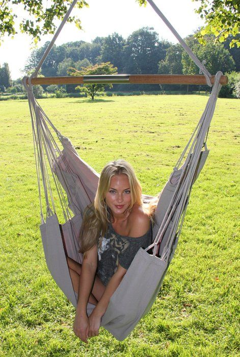 The NewLine hanging chair in the colour elephant grey. Also available in several different colours and two different sizes at www.maranonhammocks.ie