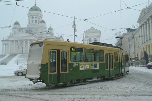 Tram in the winter, Helsinki, Finland