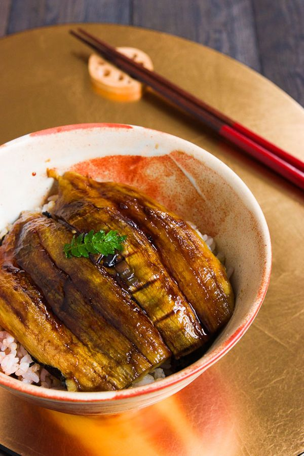 Roasted Eggplant Donburi.  Mimic the textures and flavors of unagi using eggplant, seaweed and kabayaki sauce for a vegan alternative to eel.